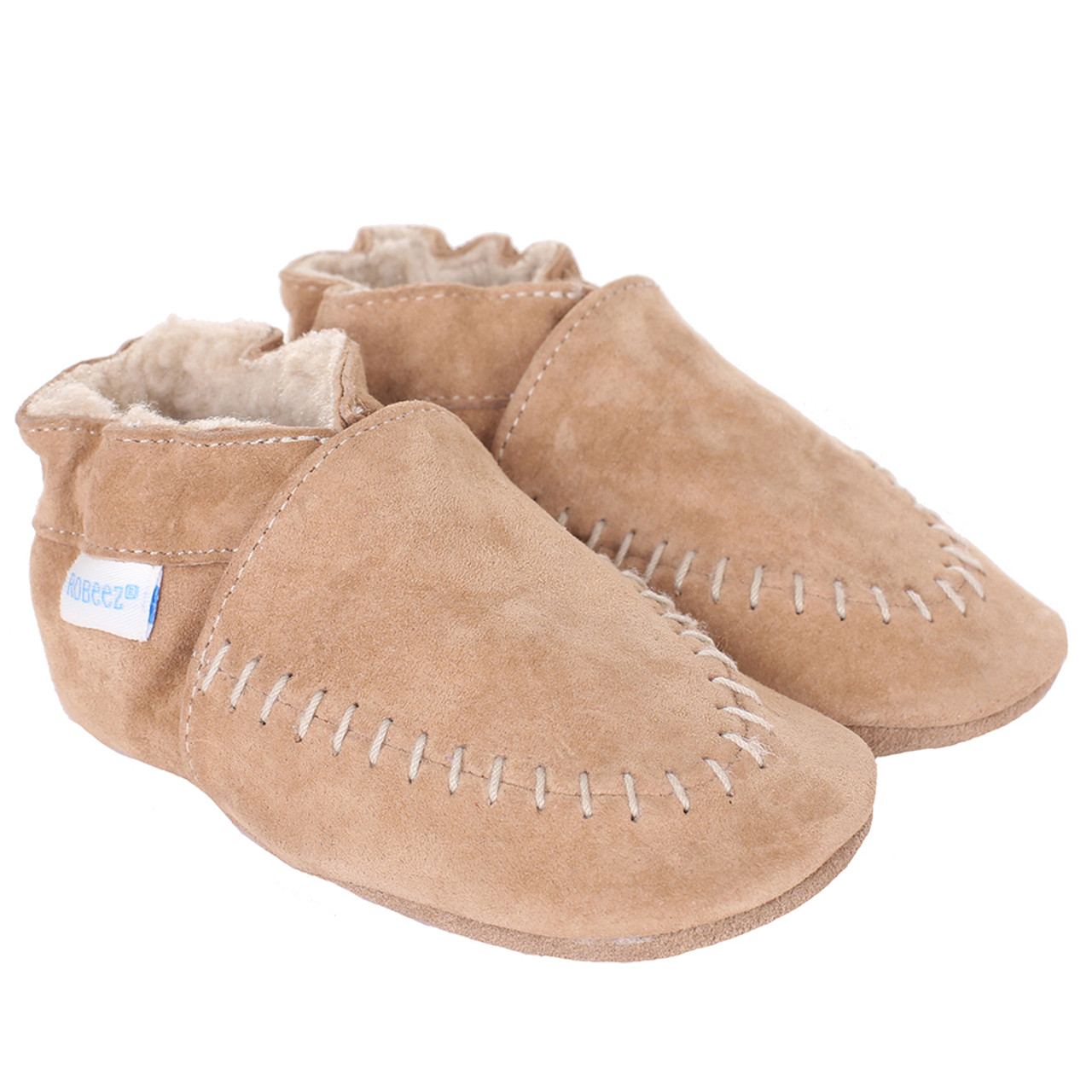 Cozy Moccasins Taupe Soft Soles Baby Shoes Robeez