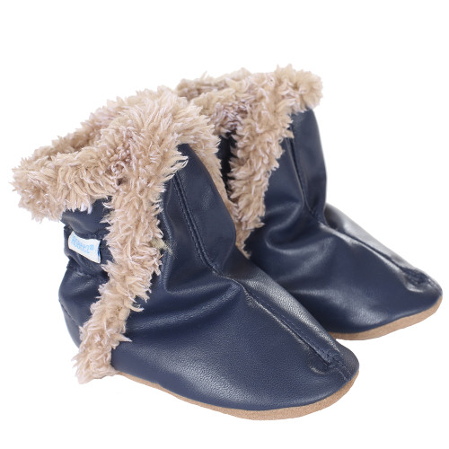 Classic Baby Boots, Navy, Soft Soles