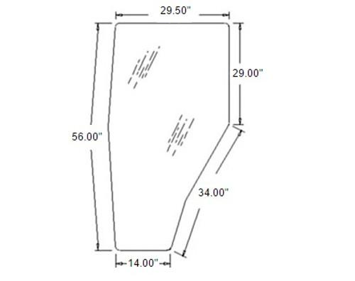 Kubota Tractor Cab Door Glass (Right Hand) -- 3A751-70670