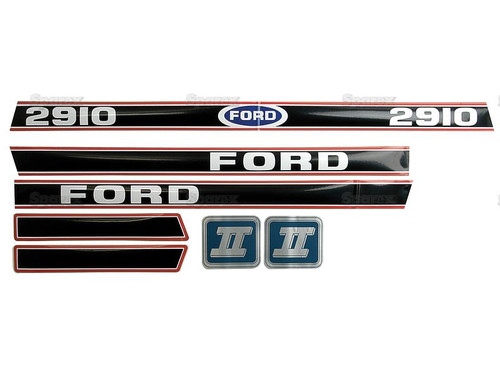 Ford 2910 Hood Decal Set, BLACK-- S.12102