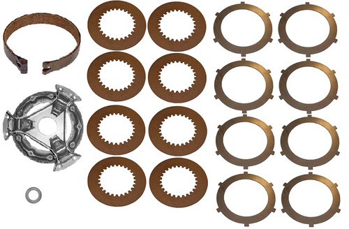 (1) New Pressure Plate AT16121(1) New Brake Band AT129805(8) New Fiber Steering Discs M3293T(8) New Steel Steering Discs M872T(1) New Throwout Bearing AM3983T -- JD-1010-SK