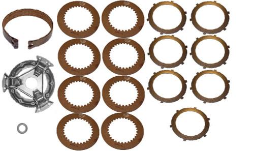 (1) New Pressure Plate AT18886(1) New Brake Band AT129805(8) New Fiber Steering Disc T20790(7) New Steel Steering Disc T21315 (1) New Throwout Bearing AM3983T -- JD-350-SK