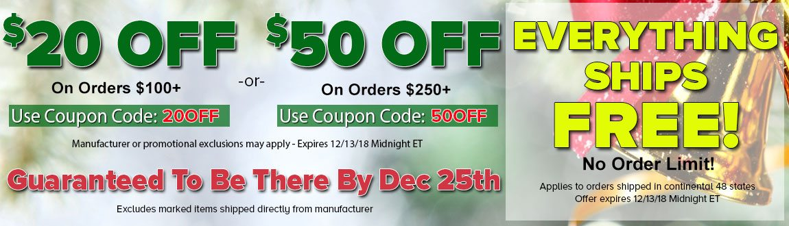 $20 OFF Orders $100+ or $50 OFF Orders $250+! FREE Guaranteed Holiday Delivery On EVERY Order!