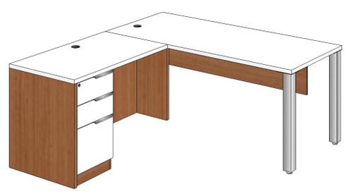 Rectangular Peninsula L-Shape Desk Left Return