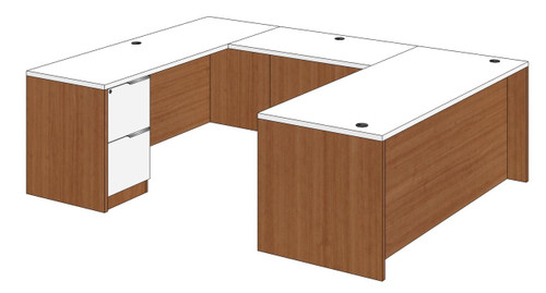Straight Front U-Shape Desk with Left Bridge