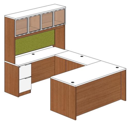 Straight Front U-Shape Desk with Aluminum Framed Door Hutch Left Bridge