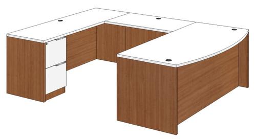 Bow Front U-Shaped Desk with Left Bridge