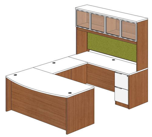 Bow Front U-Shape Desk with Aluminum Framed Door Hutch and Right Bridge