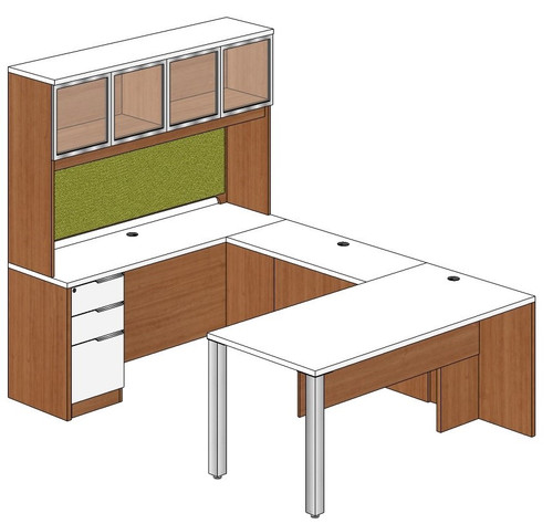 Rectangular Peninsula U-Shape Desk with Aluminum Frame Door Hutch and Left Bridge