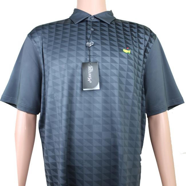 Masters Performance Tech Golf Shirt - Black & Light Grey Pattern