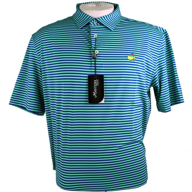 Masters Performance Tech Golf Shirt - Lime & Blue Striped