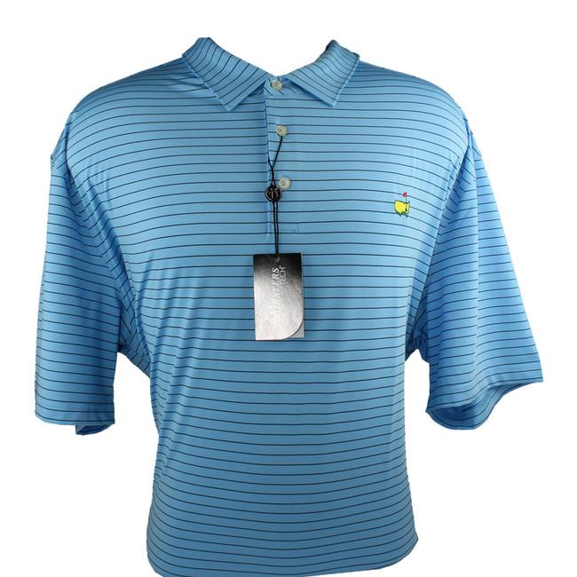 Masters Light Blue & Black StripedTech Golf Shirt