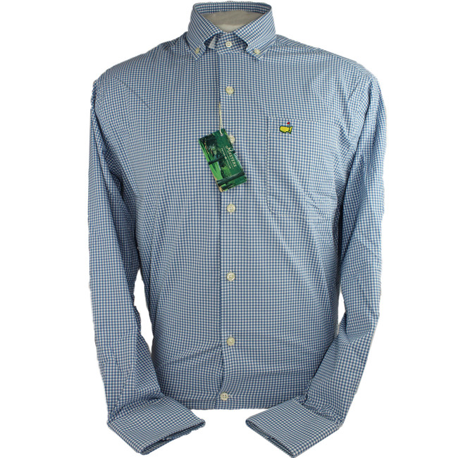 Masters Peter Millar Checkered Blue Dress Shirt
