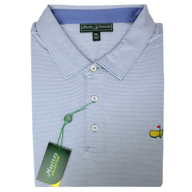 Masters Jersey Periwinkle & White Striped Golf Shirt