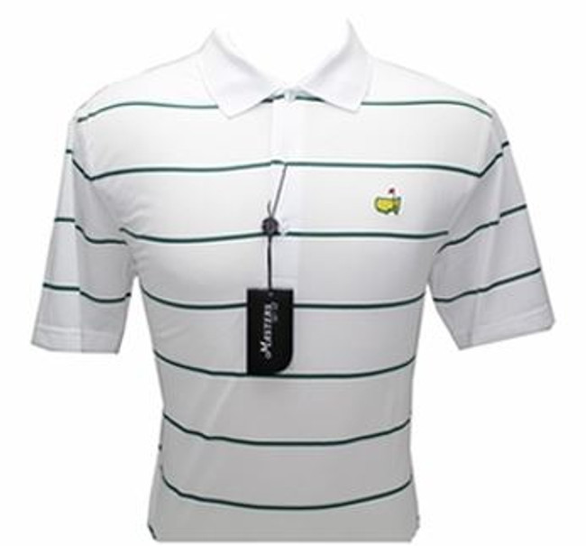Masters White & Green Striped Performance Tech Golf Shirt