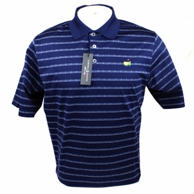 Masters Clubhouse Collection Golf Polo Shirt- Navy Zig Pattern