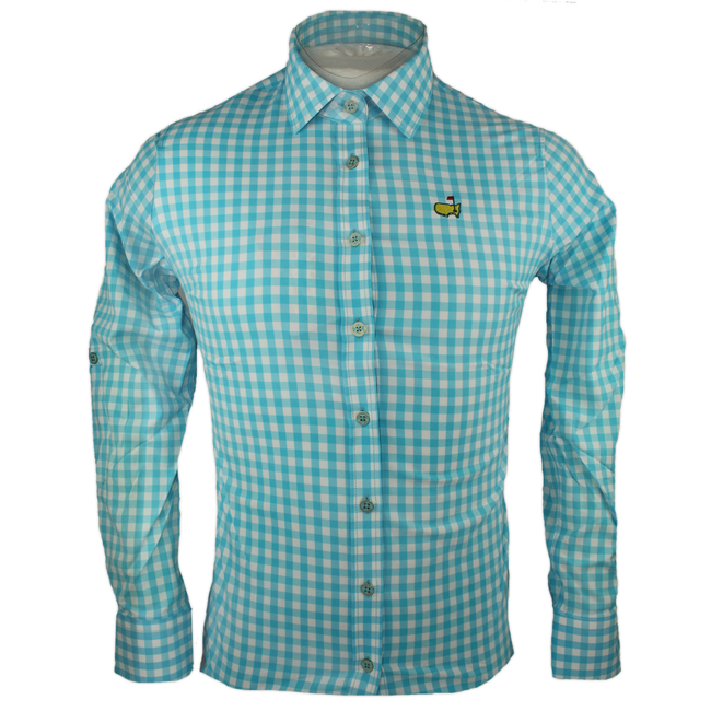 Masters Ladies Gingham Long Sleeve Polo    *Last One- Sm Only