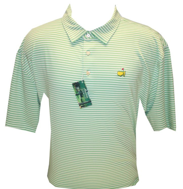 Masters Peter Millar Spring Green Jersey Golf Shirt (LG Only)