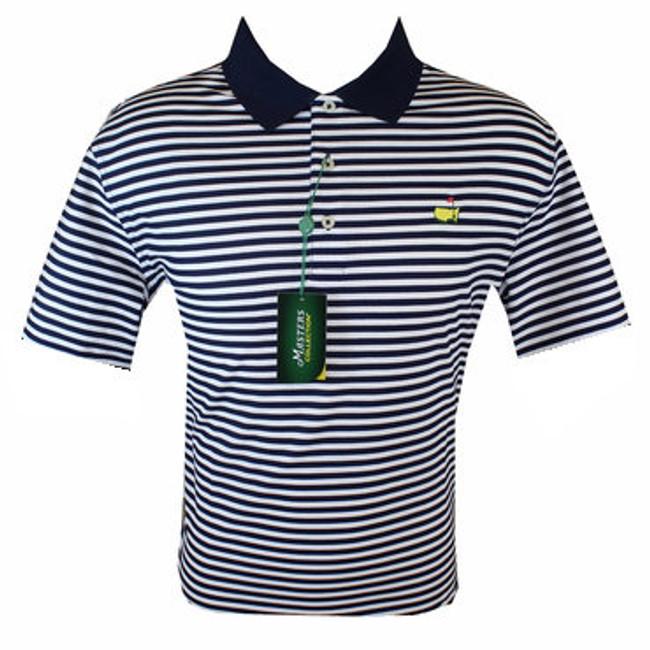 Masters Polo Shirt - Navy/White Striped 100% Pima Cotton