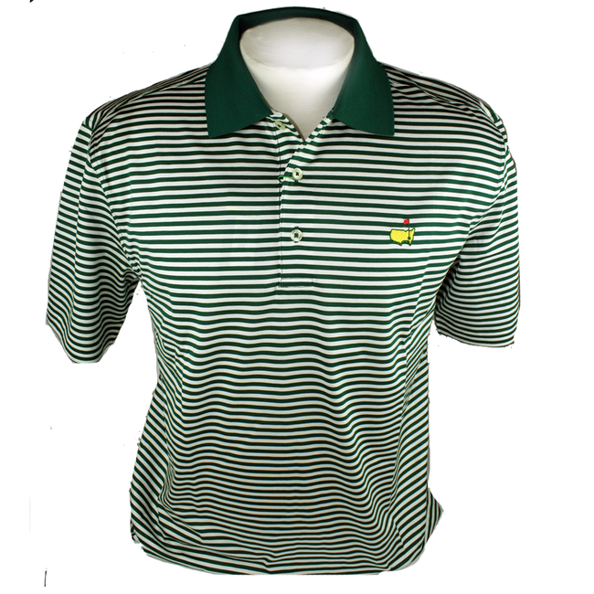 Masters Polo Shirt - Green/White Striped 100% Pima Cotton
