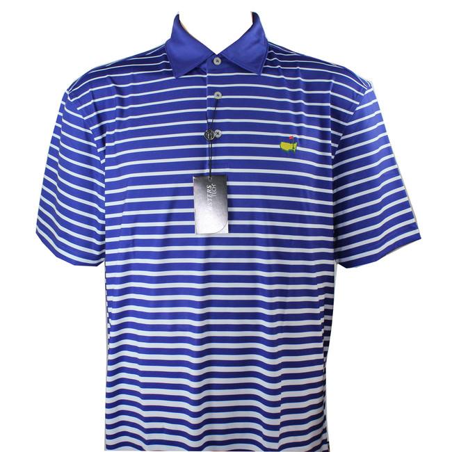 Masters Golf Shirt - Royal Blue/White Striped Tech