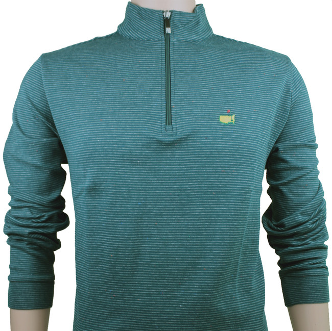 Masters Green/Heather Grey Stripe Cotton Quarter Zip Pullover