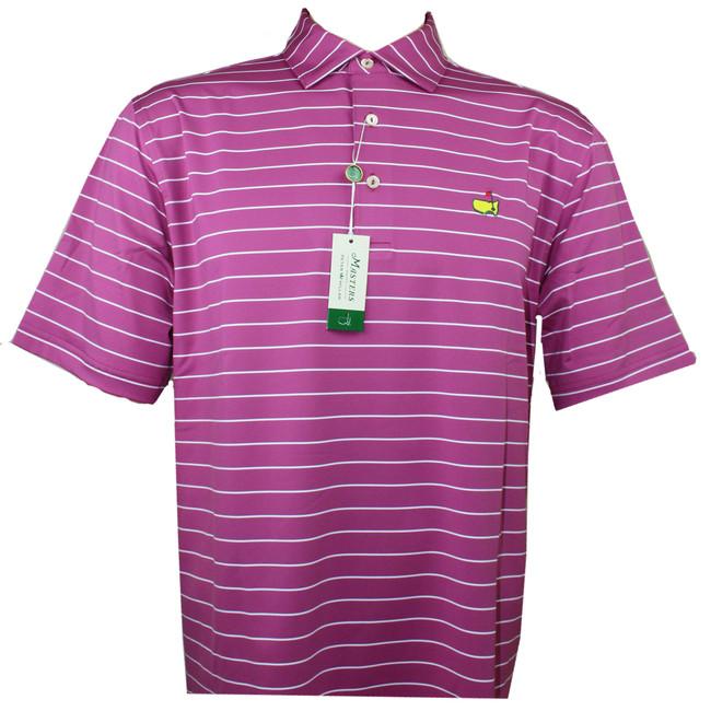 Masters Peter Millar Rosebud & White Stripe Performance Tech Golf Shirt