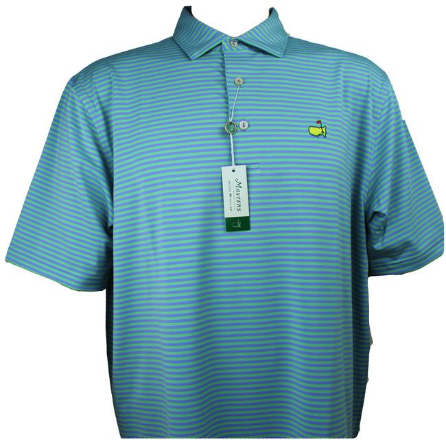 Masters Peter Millar Performance Teal & Purple Stripe Tech Golf Shirt