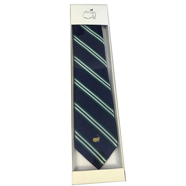 Masters Mens Neck Tie - Navy & Green Diagonal Stripe