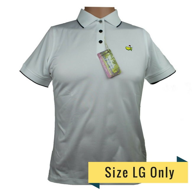 Masters Magnolia Lane White & Navy Performance Tech Golf Shirt