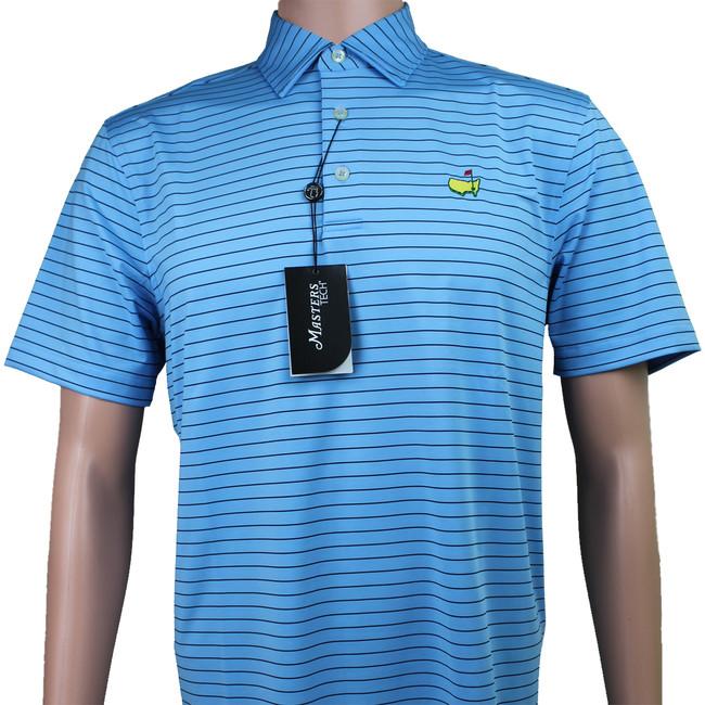Masters Light Blue & Navy Striped Performance Tech Golf Shirt