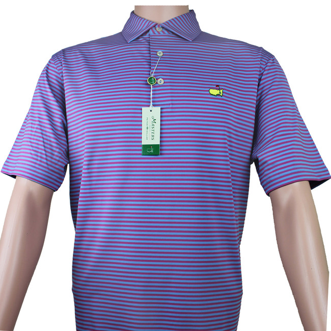 Masters Peter Millar Rosebud & Blue Striped Performance Tech Golf Shirt