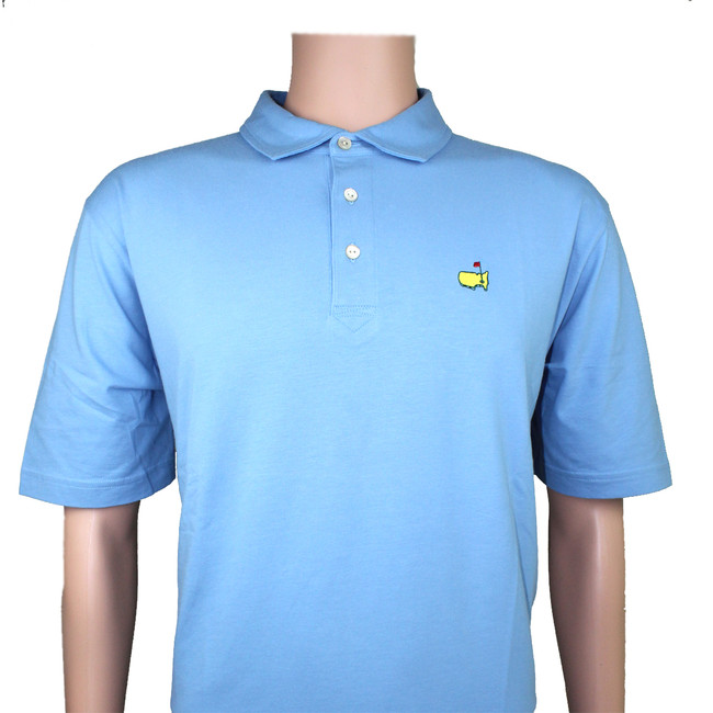 Masters Peter Millar Light Blue Jersey Golf Shirt