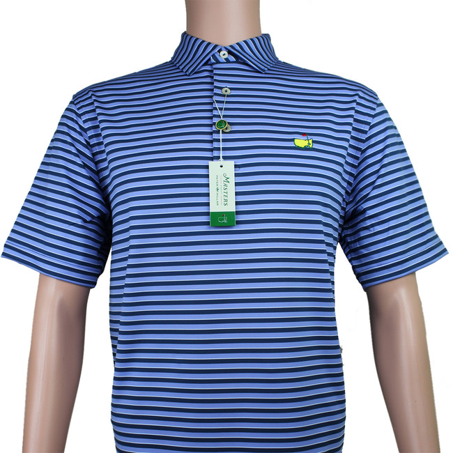 Masters Peter Millar Navy & Light Blue Performance Tech Golf Shirt