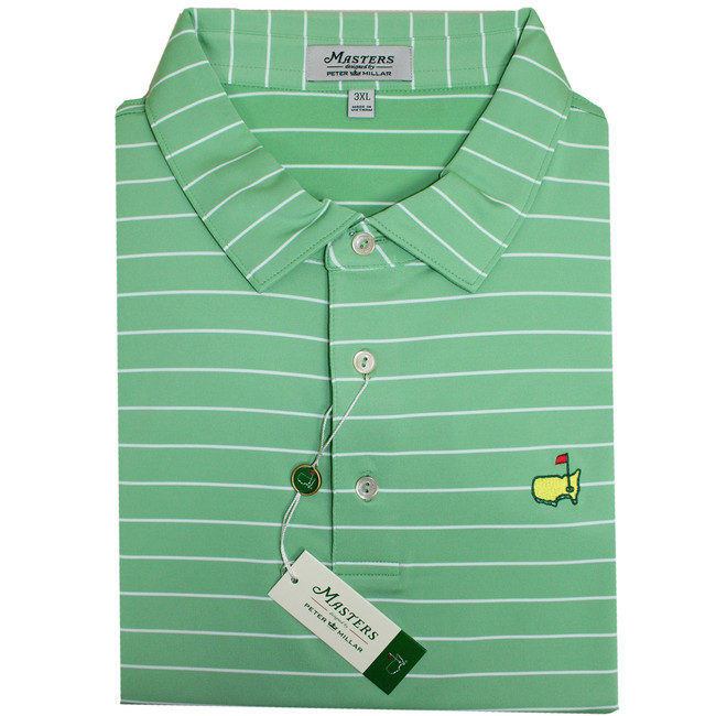 Masters Peter Millar Tea Olive & White Performance Tech Golf Shirt