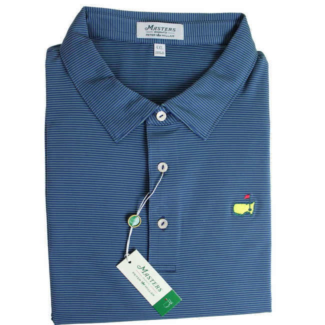 Masters Peter Millar Navy & Lime Striped Performance Tech Golf Shirt