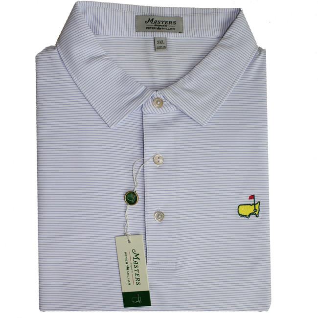 Masters Peter Millar White & Periwinkle Tech Golf Shirt
