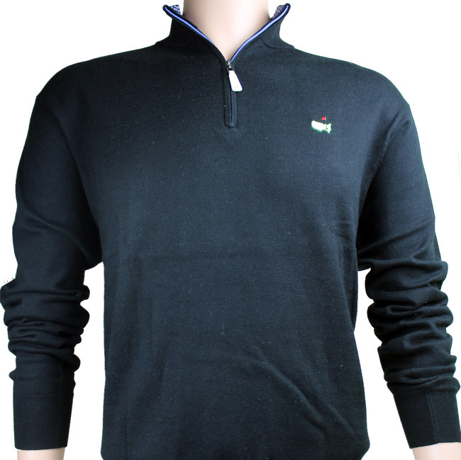 Masters Peter Millar Black Sweater - Light Blue Inside