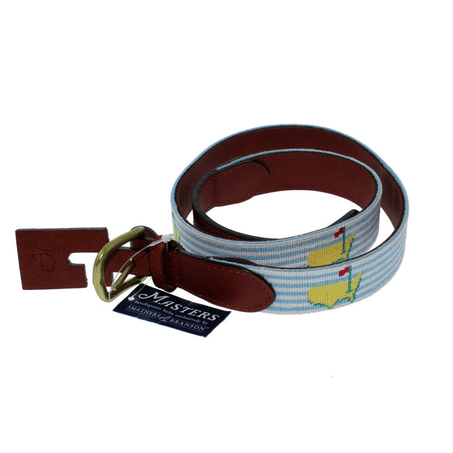 Masters Needlepoint Light Blue Seersucker Belt