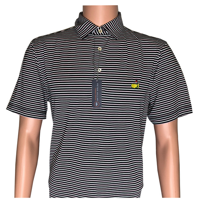 Masters Peter Millar Black, White and Pink Striped Tech Golf Shirt