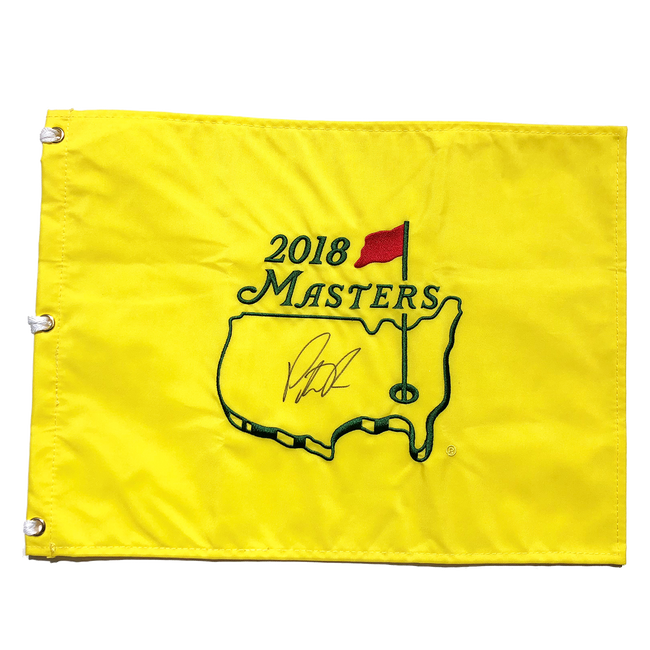patrick reed autographed 2018 masters pin flag jsa authenticated