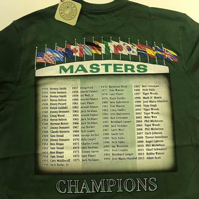 2014 Masters Champions Green T-Shirt *Small Only