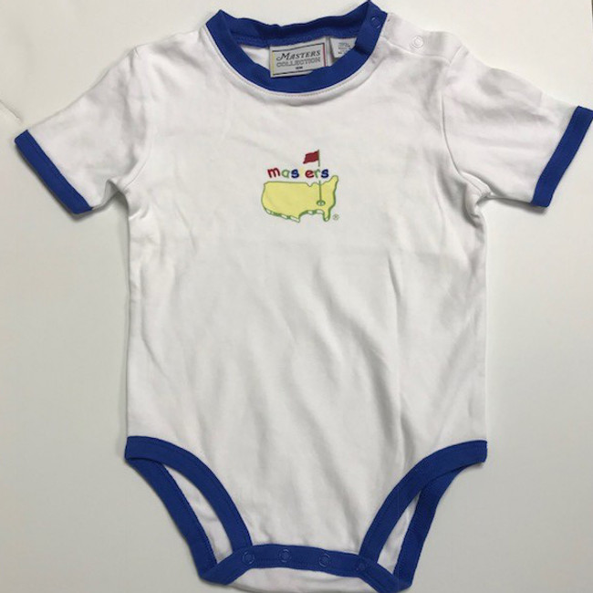 Masters Onesie - White with Blue Trim