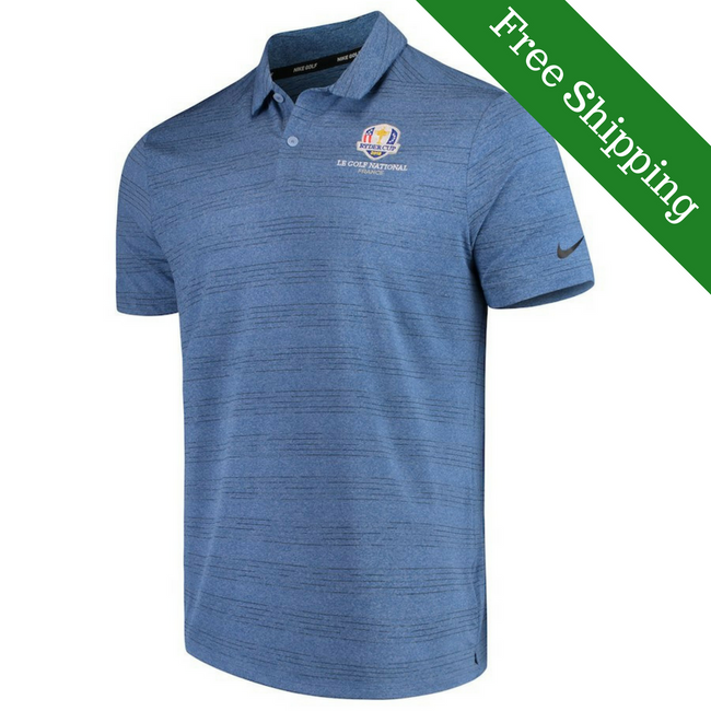 2018 Ryder Cup Nike Dri-Fit Golf Shirt- Heathered Blue/Grey