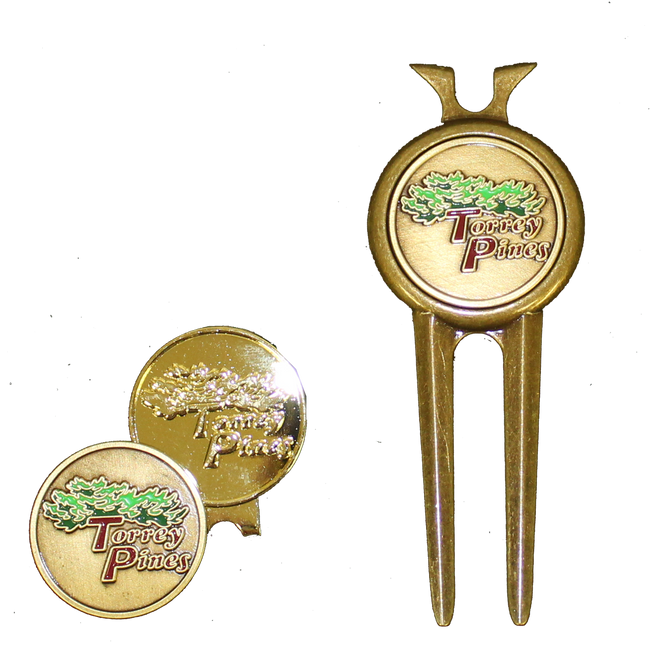 Torrey Pines Divot Tool Set and Hat Clip- Gold