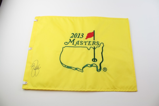 2013 Authentic Augusta National Masters Pin Flag - Autographed by Rickie Fowler