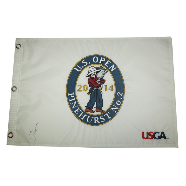 Jordan Spieth Autographed 2014 US Open White Embroidered Pin Flag Pinehurst No 2
