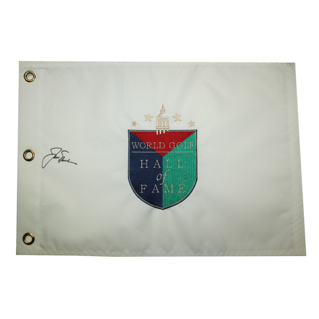 Jack Nicklaus Autographed World Golf Hall of Fame Embroidered Pin Flag
