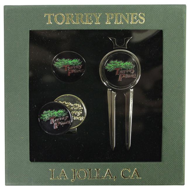 Torrey Pines Divot Tool Set and Hat Clip- Gun Metal