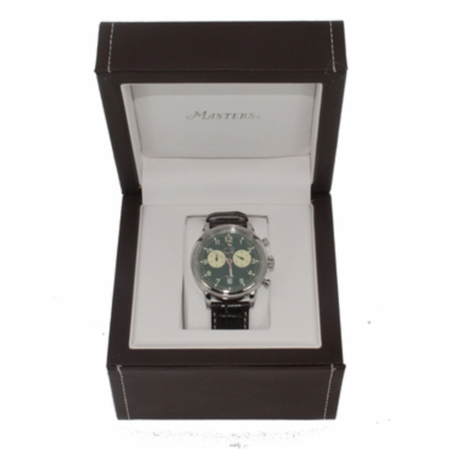 Masters Men's Watch Green Face with Brown Leather Band